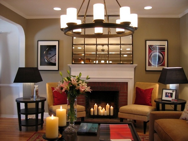 Brick fireplace lit with candles