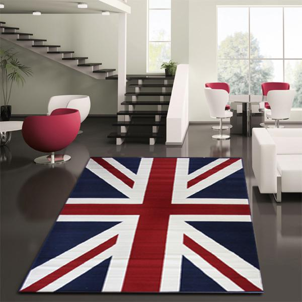 Bright Union Jack rug fits in nicely even in a minimalist living space British Invasion: 24 Union Jack Furniture and Decor Ideas