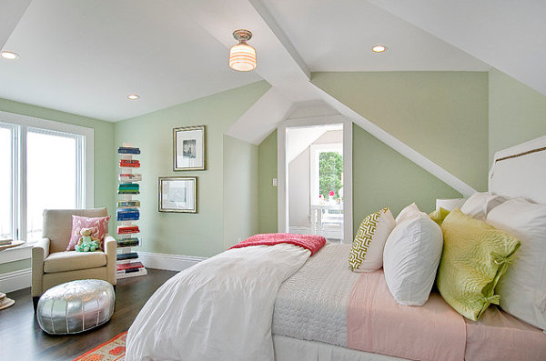 View in gallery Bright accents in a pastel bedroom
