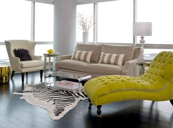 Bright chaise in golden yellow brings in vivid contrast