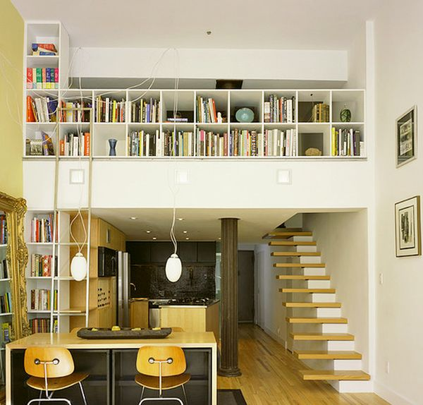 Cantilevered Oak treads make up this floating stairway to the book collection on the top floor