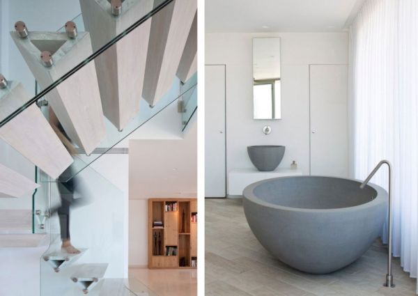 Cantilevered triangular staircase and bathtub