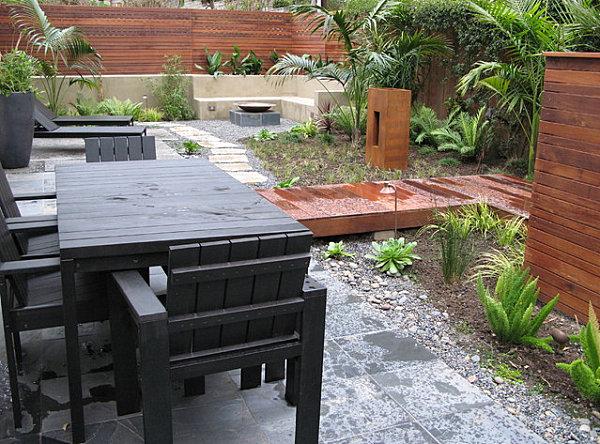 Carefully landscaped backyard