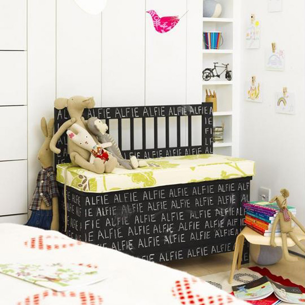 Chalkboard toy storage bench