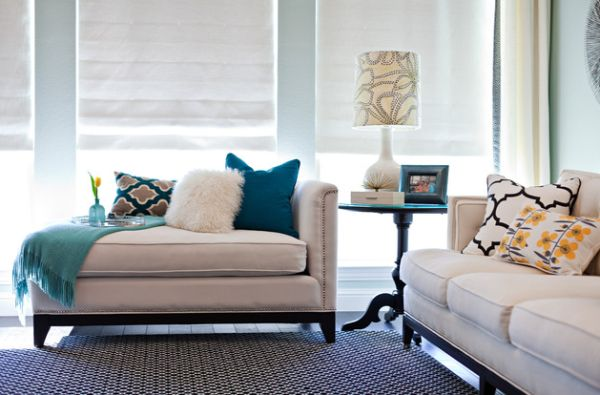Chic living room with a gorgeous upholstered chaise lounge