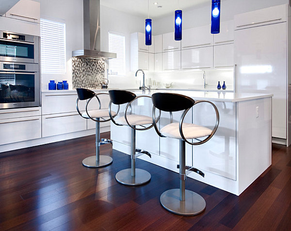 Clean-lined kitchen with cobalt accents