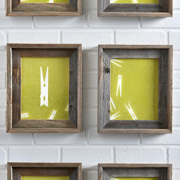 Clothes pin print in rustic wooden frames