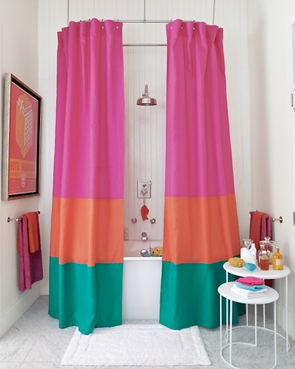 Color blocked shower curtain DIY