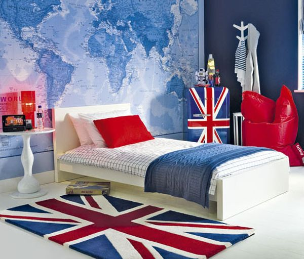 Colorful British themed kids' room