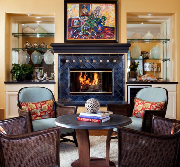 Colorful setting for a firepplace with glass door