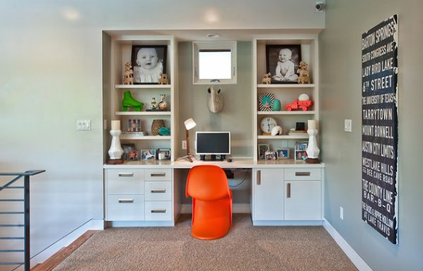 Compact kids' desk design with plenty of storage space around