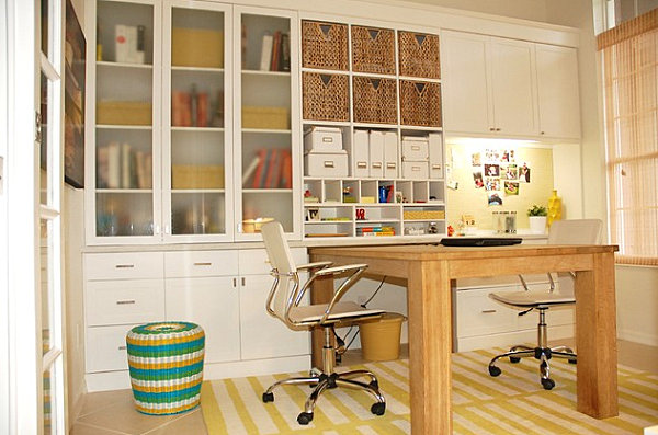 Concealed storage in a home office