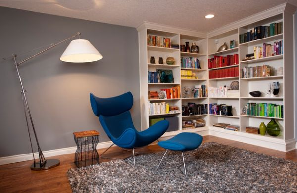 Contemporary family room with a stylish bookcase in the corner