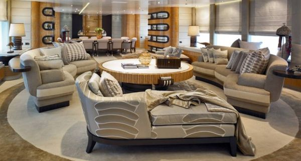View In Gallery Contemporary Living Room Displays A Round Theme Thanks To Intelligent Placement Of The Chaise Lounge