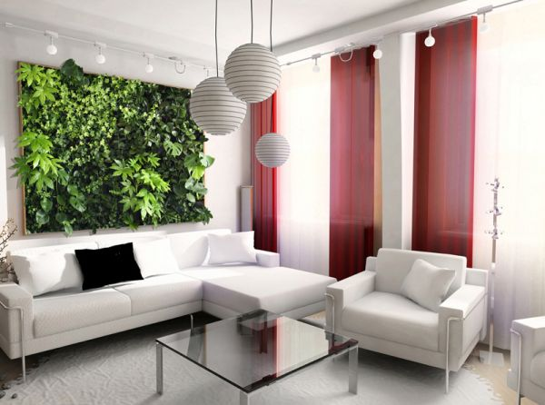 Contemporary living room in white with lovely living wall installation