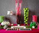 Contemporary pink and green dessert table