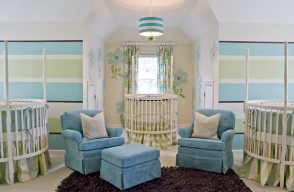 Contemporary triple nursery with enough seating space for adults as well