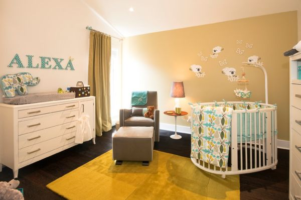 Cool baby room with a round bed placed in the corner