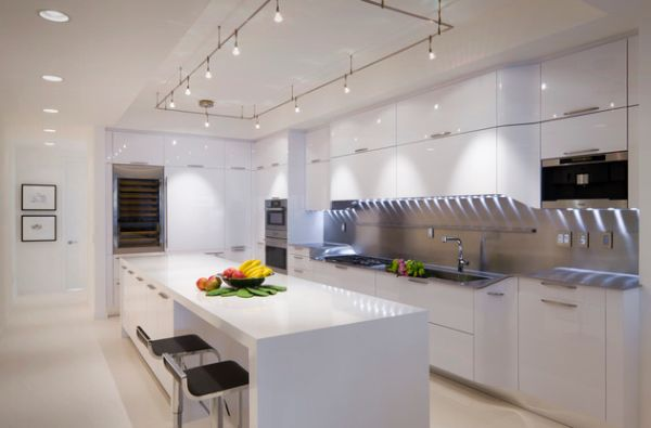 Cool track lighting installation above the kitchen island is a perfect choice