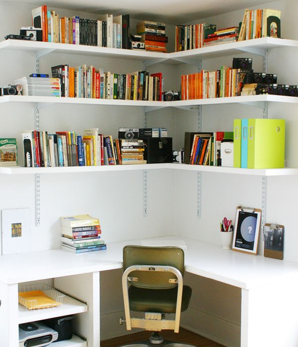View in gallery Corner space in the bedroom turned into compact home office  with ample storage