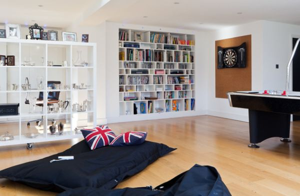Cozy nook in a modern family room in London highlighted using Union Jack cusions