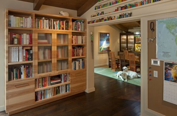View In Gallery Creative Glass Doors Give This Bookshelf A Unique Look