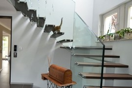 Custom floating stairs decorated in a unique fashion!