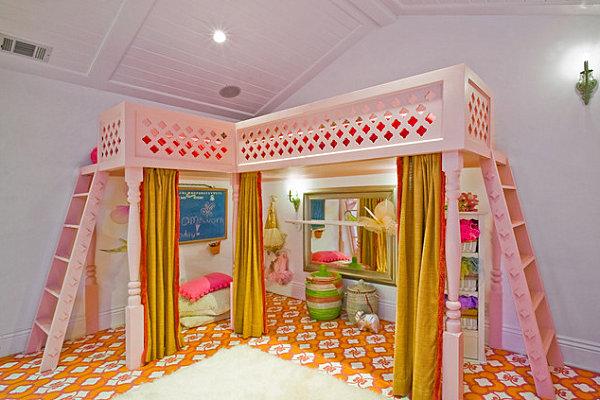 Custom painted floors in a girls' bedroom