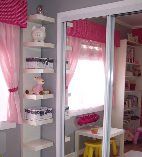 15 corner wall shelf ideas to maximize your interiors for Storage for kids rooms