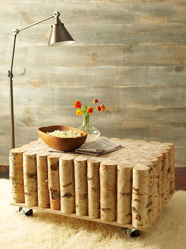 View In Gallery DIY Birch Tree Log Coffee Table