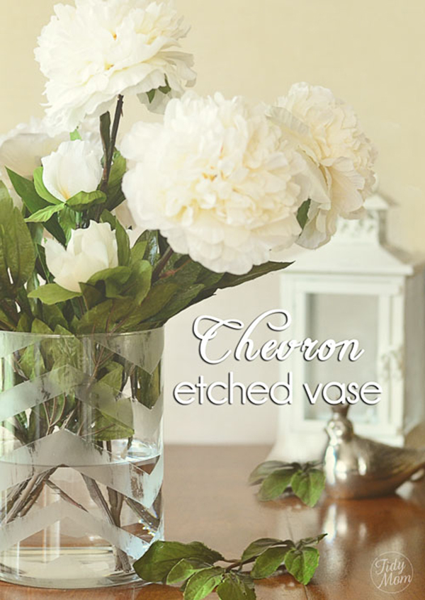 DIY Chevron Etched Glass Vase