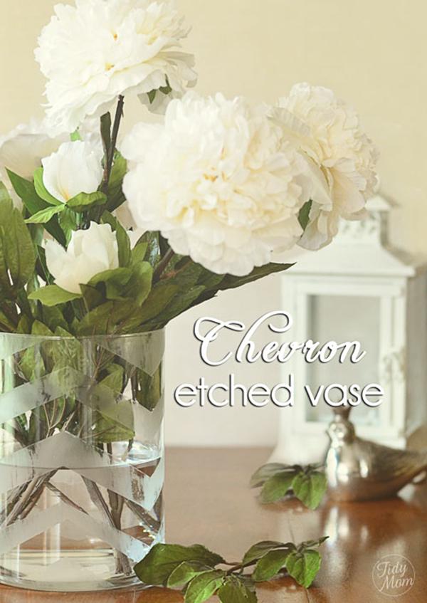 DIY Chevron Etched Glass Vase
