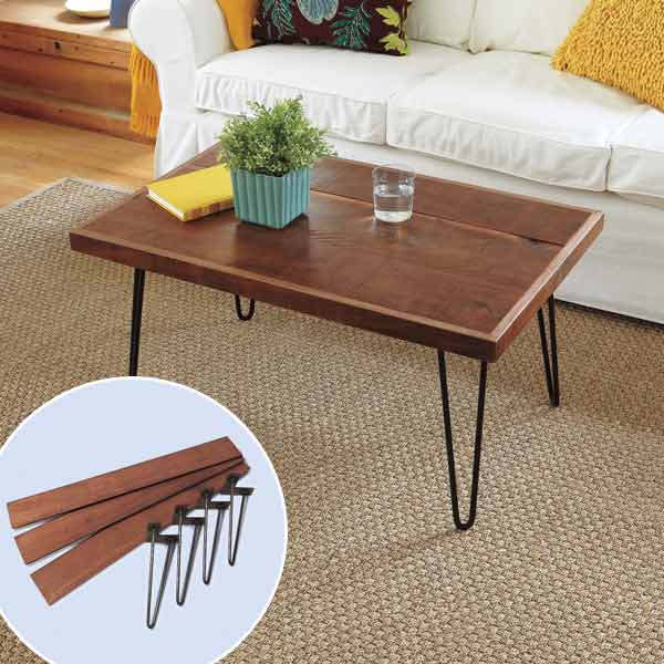 diy coffee table hairpin legs decoist. Black Bedroom Furniture Sets. Home Design Ideas