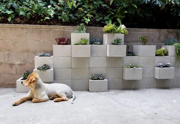 DIY Concrete Block Planter Wall