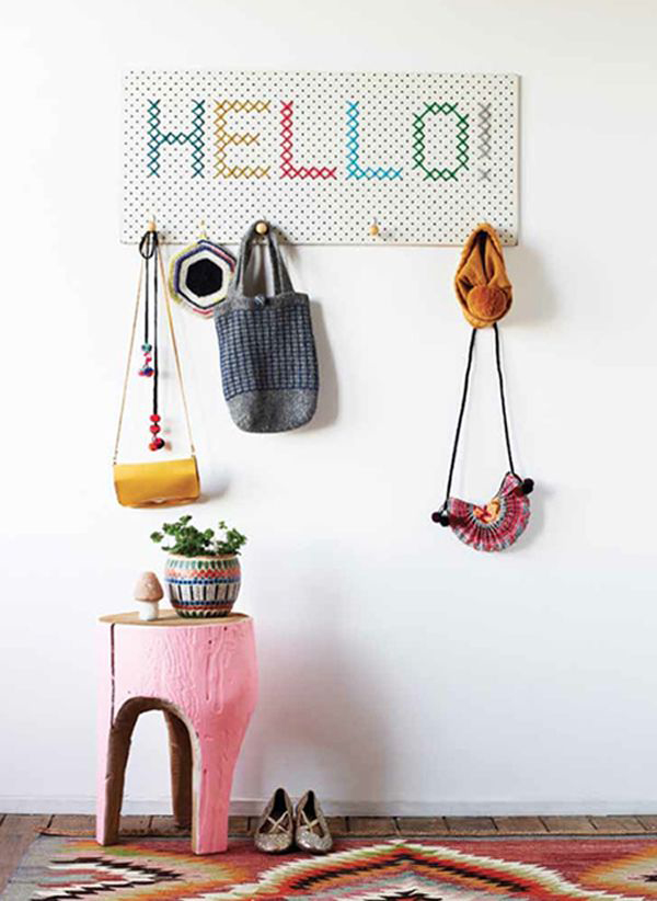 DIY Cross Stitch Coat Rack
