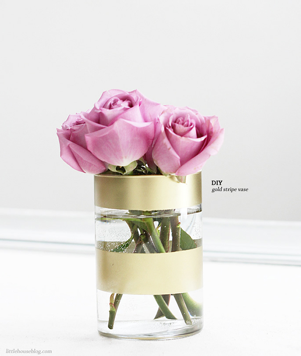 DIY Gold Striped Vase DIY Flower Vases That Are Chic & Fancy