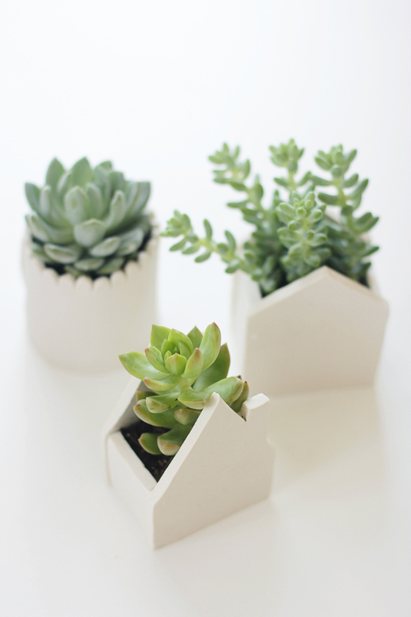 DIY House-Shaped Clay Planters