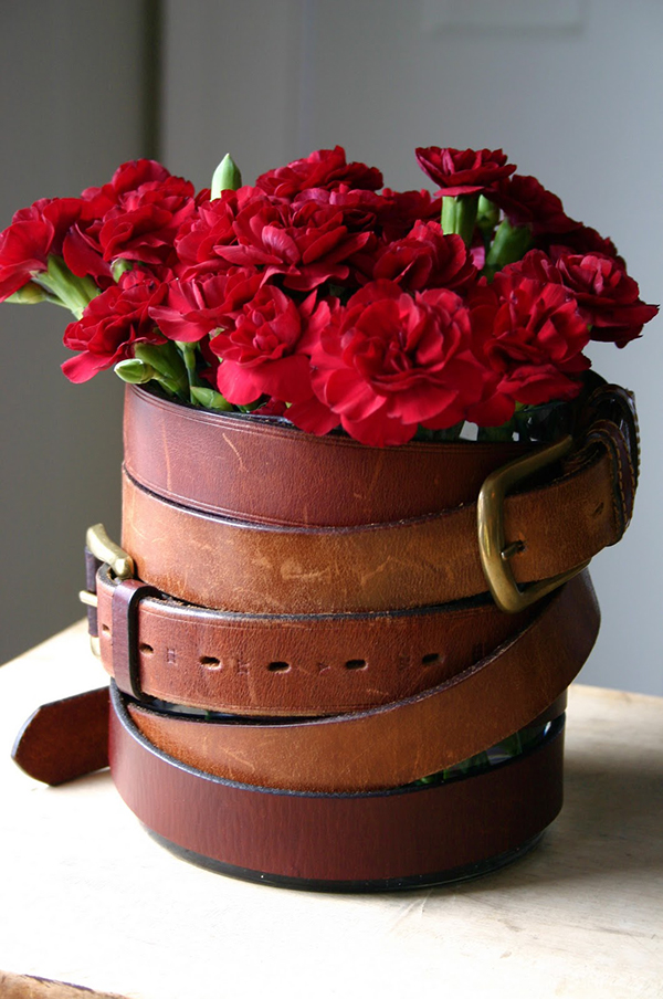 DIY Leather Belt Vase