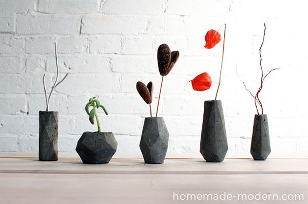 DIY Modern Concrete Geometric Vases