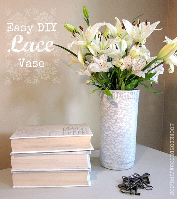 DIY Painted Lace Vase