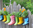 DIY Rainboot Planter