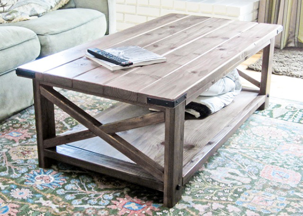View in gallery DIY Rustic X Coffee Table - 12 Gorgeous DIY Coffee Tables
