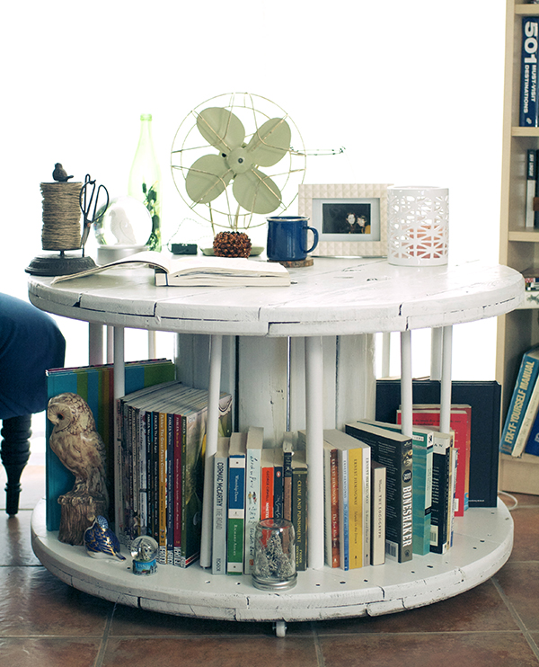 DIY Spool Library Coffee Table