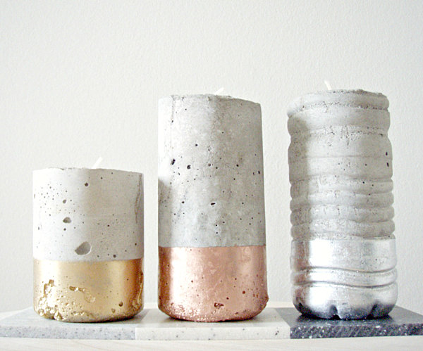 DIY concrete and metallic votives
