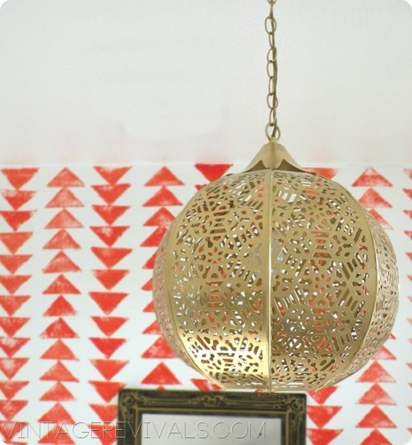 DIY gold lantern chandelier