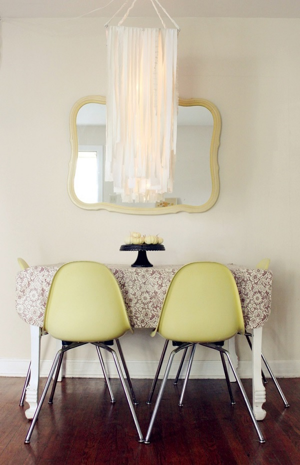 DIY ivory fabric garland chandelier