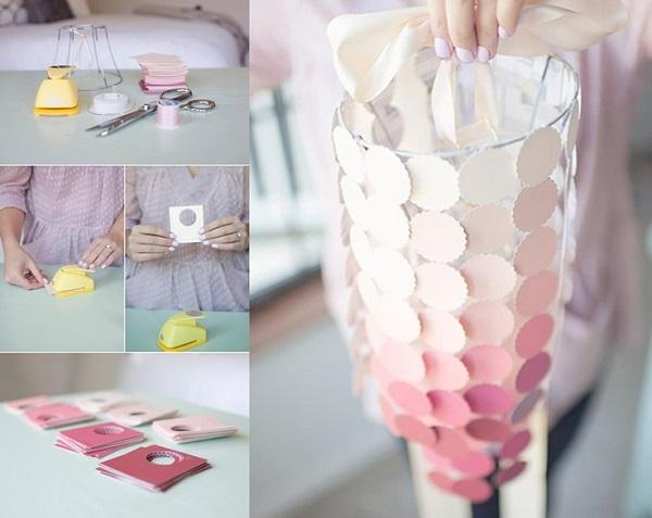DIY pink paint sample chandelier