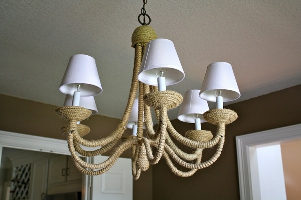 DIY rope wrapped chandelier