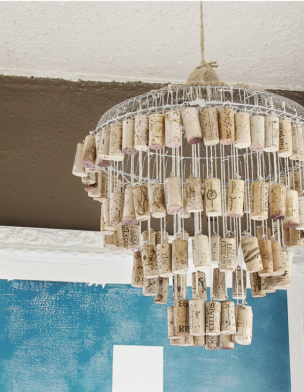 DIY tiered cork chandelier