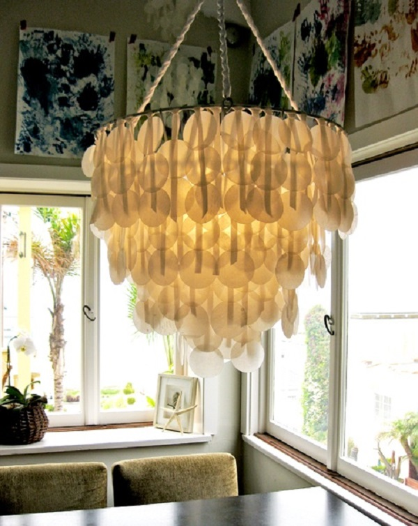 DIY white wax paper chandelier